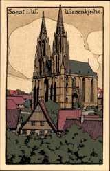 Steindruck Ak Soest Westfalen, Blick auf die Wiesenkirche
