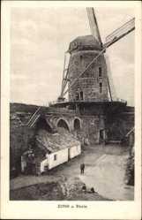 Postcard Zons am Rhein Dormagen, Blick auf die Windmühle und Hof
