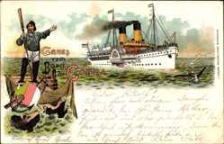 Litho Gruß vom Bord der Cobra, HAPAG Seebäderdienst, Dampfer