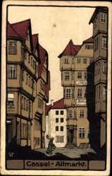 Steindruck Ak Kassel, Blick auf den Altmarkt mit Kaffeespezialist