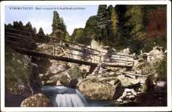 Postcard VysokeVysoké Tatry Hohe Tatra Slowakei, Flusspartie mit Brücke, Felsen
