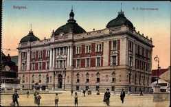 Postcard Belgrad Serbien, D. Z. Gouvernement, Straßenpartie, Passsanten, Fassade