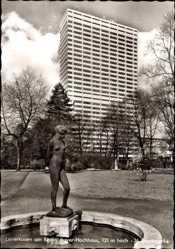 Postcard Leverkusen, Blick auf das Bayer Hochhaus, 121 m hoch, 36 Stockwerke