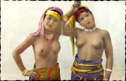 Ansichtskarte / Postkarte Scenes et Types, Types de Jeunes Mauresques, Barbußige Frauen