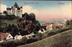 Postcard Illerlissen, Teilansicht mit Blick auf das Schloss