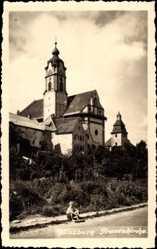 Foto Ak Günzburg in Schwaben, Blick von der Straße auf die Frauenkirche