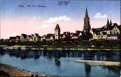 Postcard Ulm an der Donau Baden Württemberg, Donaupartie mit Stadtansicht