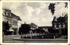 Postcard Požarevac Serbien, Kraljev trg, Marktplatz, Gebäude