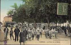 Postcard Tlemcen Algerien, La Place de la Mairie, Kinder, Straßenpartie