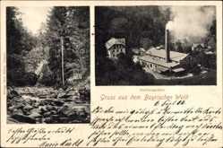 Postcard Buchbergmühle Dischingen, Blick auf eine Fabrik, Flusspartie, Wald