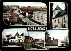 Postcard Refrath Bergisch Gladbach, Kippekausen, Taufkirche, Haus Steinbreche, Schule