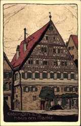 Steindruck Ak Esslingen am Neckar Baden Württemberg, Blick auf Haus am Markt