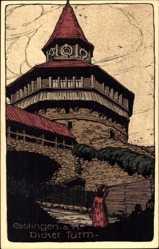 Steindruck Ak Esslingen am Neckar Baden Württemberg, Blick auf den Dicken Turm