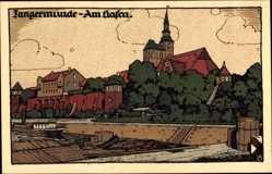 Steindruck Ak Tangermünde in Sachsen Anhalt, Am Hafen, Kirchturm
