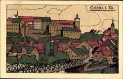 Steindruck Ak Colditz in Sachsen, Totalansicht der Stadt, Brücke