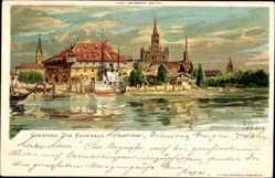 Künstler Litho Biese, C., Konstanz am Bodensee, Flusspartie, Blick auf Kaufhaus