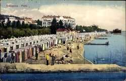 Postcard Crikvenica Kroatien, Plaze, Strandblick, Badegäste, Umkleidekabinen