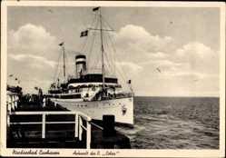 Postcard Cuxhaven in Niedersachsen, Dampfer Cobra, HAPAG Seebäderdienst