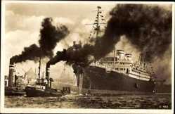 Postcard Ausschleppen des MS St. Louis, Dampfschiff der HAPAG