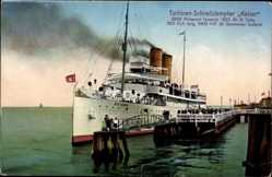 Postcard Turbinenschnelldampfer Kaiser, HAPAG Seebäderdienst, Anlegestelle