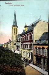 Postcard Saarlouis im Saarland, Blick auf das Postamt und Katholische Kirche