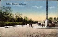 Postcard Belgrad Serbien, Eingang in die Festung, Straßenpartie