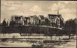 Postcard Riedenburg, Blick zum Kloster, Flusspartie, Glockenturm, Fassade