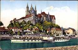 Ansichtskarte / Postkarte Meißen in Sachsen, Dampfer Sachsen, Albrechtsburg mit Dom