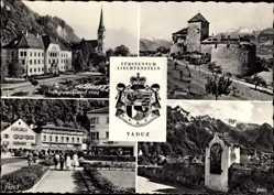 Wappen Ak Vaduz Liechtenstein, Fürstentum, Regierungsgebäude, Schloss