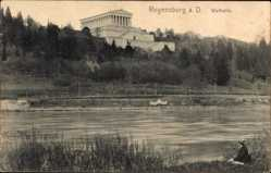 Postcard Regensburg an der Donau Oberpfalz, Flusspartie mit Blick auf die Walhalla