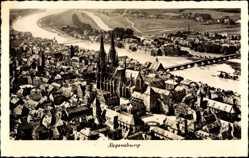 Postcard Regensburg an der Donau Oberpfalz, Blick auf den Ort, Fluss, Brücke