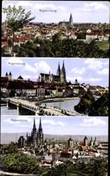 Postcard Regensburg an der Donau Oberpfalz, Totalansicht, Flusspartie, Brücke