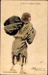 Künstler Ak Jugot, R., La bete de Somme du maroc, Mann in Lumpen