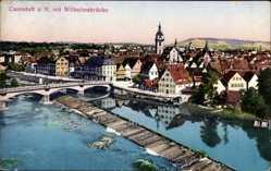 Postcard Stuttgart Cannstatt am Neckar, Flusspartie, Wilhelmsbrücke, Stadt