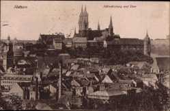 Ansichtskarte / Postkarte Meißen in Sachsen, Blick über die Dächer auf die Albrechtsburg und Dom