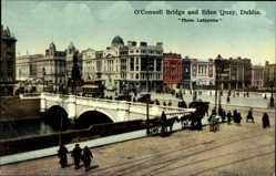 Postcard Dublin Irland, O'Connell Bridge and Eden Quay, Brücke
