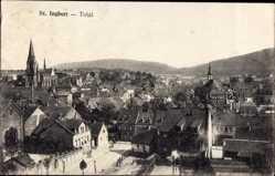 Postcard St. Ingbert, Blick über die Stadt, Kirchen, Marktplatz