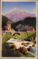 Handgemalt Ak Frühlingsidyll im Gebirge, Fluss, Brücke, Kirche
