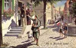Künstler Ak Thiele, Arthur, Als er Abschied nahm, Soldat zieht aus