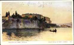 Postcard Korfu Griechenland, Kaimauer, Boot, Passanten, Gebäude, Bäume