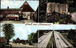 Postcard Hammoor Holstein, Ortspartie, Autobahn, Ehrenmal, Gemischtwarenladen