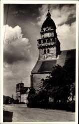 Postcard Skalica Slowakei, Farsky kostol sv. Michala, Straßenpartie, Kirche