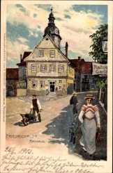 Künstler Litho Bahndorf, Friedrichroda im Thüringer Wald, Rathaus, Anwohner