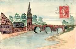 Handgemalt Briefmarken Ak Frankreich, Flusspartie, Kirchturm, Brücke