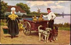 Künstler Ak Gerstenhauer, Niederlande, Milchwagen, Arbeitshunde, Trachten