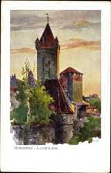 Künstler Ak Kley, Heinrich, Nürnberg in Mittelfranken Bayern, Luginsland, Burg
