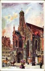 Künstler Ak Kley, Heinrich, Nürnberg in Mittelfranken Bayern, Frauenkirche,Abend