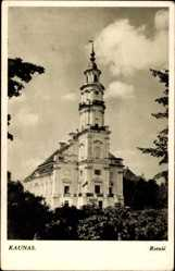 Postcard Kaunas Kowno Kauen Litauen, Rotuse, Rathaus, Turm