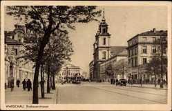 Postcard Warszawa Warschau Polen, Krakauerstraße, Straßenbahn