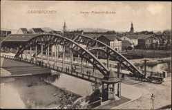 Postcard Saarbrücken im Saarland, Blick auf die Kaiser Friedrich Brücke, Fuhrwerk